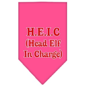 Head elf In Charge Screen Print Bandana Bright Pink Large