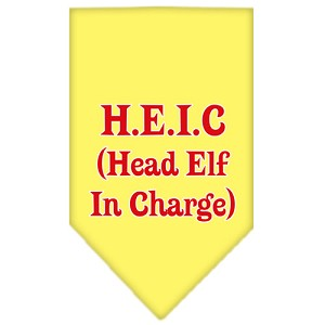 Head elf In Charge Screen Print Bandana Yellow Small