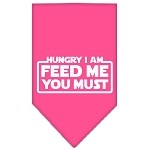 Hungry I Am Screen Print Bandana Bright Pink Small