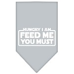 Hungry I Am Screen Print Bandana Grey Small