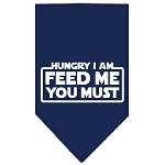 Hungry I Am Screen Print Bandana Navy Blue Small