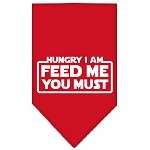 Hungry I Am Screen Print Bandana Red Small