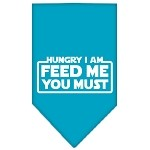 Hungry I Am Screen Print Bandana Turquoise Small