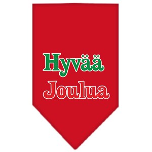 Hyvaa Joulua Screen Print Bandana Red Small