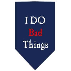 I Do Bad Things Screen Print Bandana Navy Blue Small