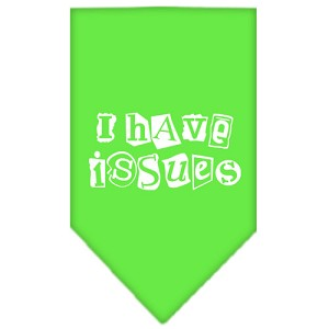 I Have Issues Screen Print Bandana Lime Green Large