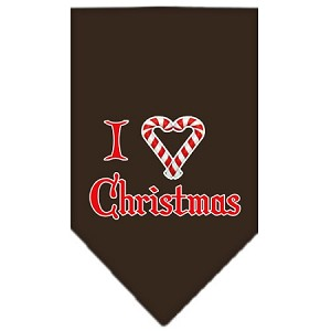 Heart Christmas Screen Print Bandana Cocoa Small