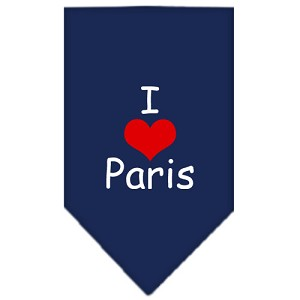 I Heart Paris Screen Print Bandana Navy Blue Small