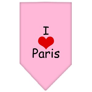 I Heart Paris Screen Print Bandana Light Pink Large