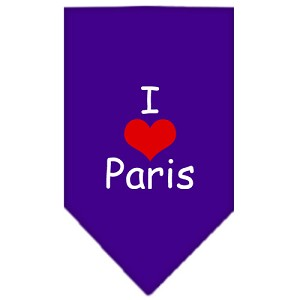 I Heart Paris Screen Print Bandana Purple Small