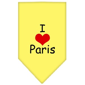 I Heart Paris Screen Print Bandana Yellow Small