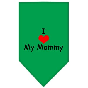 I Heart My Mommy Screen Print Bandana Emerald Green Small