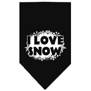 I Love Snow Screen Print Bandana Black Large