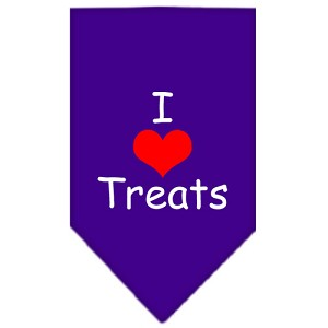 I Heart Treats Screen Print Bandana Purple Large
