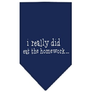 I really did eat the Homework Screen Print Bandana Navy Blue Small