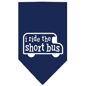 I ride the short bus Screen Print Bandana Navy Blue Small