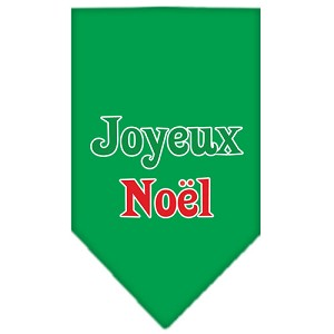 Joyeux Noel Screen Print Bandana Emerald Green Large
