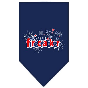 Little Firecracker Screen Print Bandana Navy Blue large