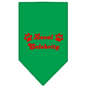 Local Celebrity Screen Print Bandana Emerald Green Small