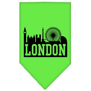 London Skyline Screen Print Bandana Lime Green Large