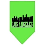 Los Angeles Skyline Screen Print Bandana Lime Green Large