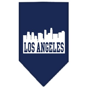Los Angeles Skyline Screen Print Bandana Navy Blue large