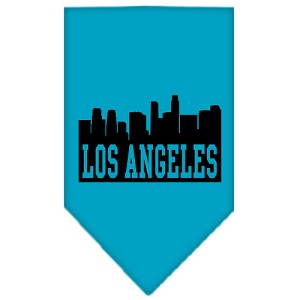 Los Angeles Skyline Screen Print Bandana Turquoise Small