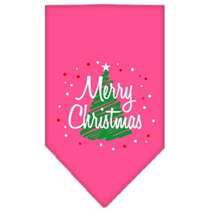 Scribble Merry Christmas Screen Print Bandana Bright Pink Large