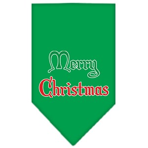 Merry Christmas Screen Print Bandana Emerald Green Large