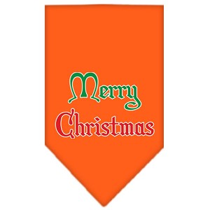 Merry Christmas Screen Print Bandana Orange Large