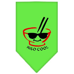 Miso Cool Screen Print Bandana Lime Green Large