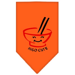 Miso Cute Screen Print Bandana Orange Small