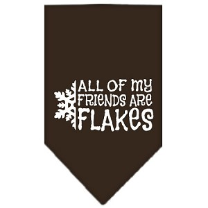 All my Friends are Flakes Screen Print Bandana Cocoa Large
