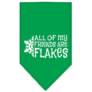 All my friends are Flakes Screen Print Bandana Emerald Green Small