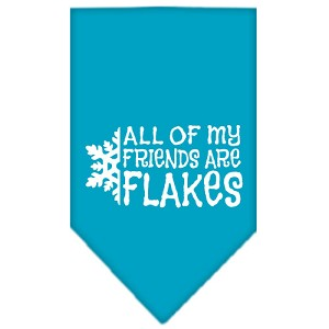 All my friends are Flakes Screen Print Bandana Turquoise Large