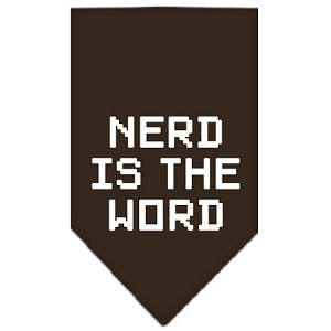 Nerd is the Word Screen Print Bandana Cocoa Large