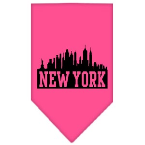 New York Skyline Screen Print Bandana Bright Pink Small