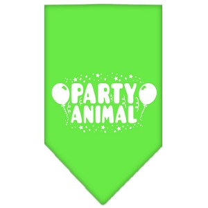 Party Animal Screen Print Bandana Lime Green Small
