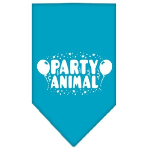 Party Animal Screen Print Bandana Turquoise Small
