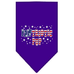 Pawtriotic Pup Screen Print Bandana Purple Small