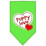 Puppy Love Screen Print Bandana Lime Green Small
