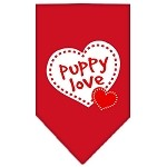 Puppy Love Screen Print Bandana Red Small