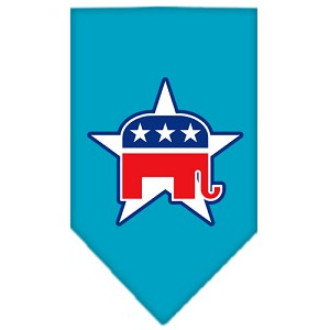 Republican Screen Print Bandana Turquoise Small