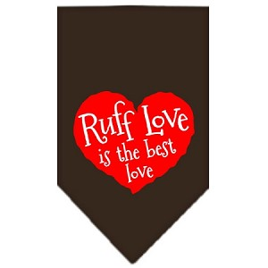 Ruff Love Screen Print Bandana Cocoa Large