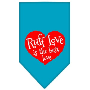 Ruff Love Screen Print Bandana Turquoise Large