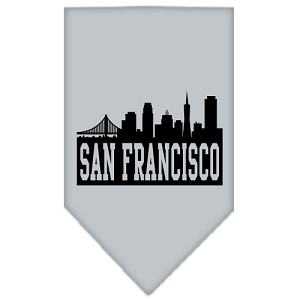 San Francisco Skyline Screen Print Bandana Grey Small