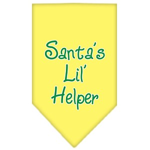 Santa Lil Helper Screen Print Bandana Yellow Large