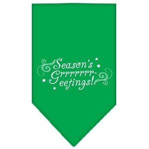 Seasons Greetings Screen Print Bandana Emerald Green Large