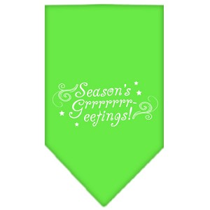 Seasons Greetings Screen Print Bandana Lime Green Large