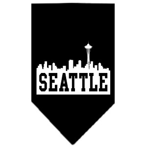 Seattle Skyline Screen Print Bandana Black Large